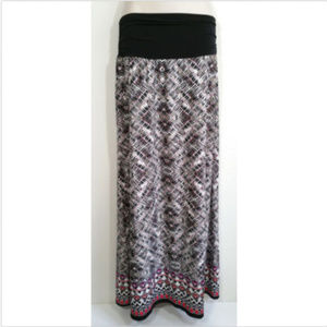AB STUDIO Maxi Skirt Stretch Shirred Waist 1384E1